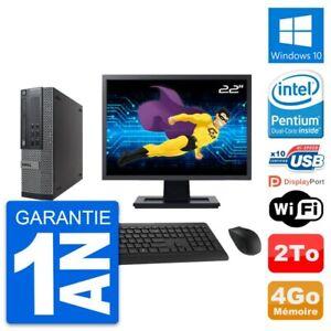 """PC Dell 790 SFF Ecran 22"""" Intel G630 RAM 4Go Disque Dur 2To Windows 10 Wifi"""