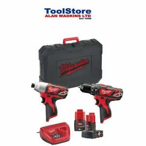 Milwaukee M12BPP2B-421C 12v Twin Pack Drill & Impact Set 1 x 4ah 1 x 2ah Battery