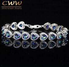 NEW Sterling Silver Mystic Light Blue Crystal Love Bracelet For Women Wedding