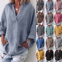 ZANZEA Womens Summer V Neck Long Sleeve Casual Loose Tops Shirt Blouse Plus Size