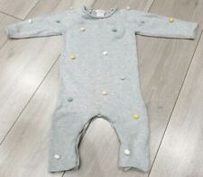 🐚 Mamas and Papas Knitted Romper 6-9 Baby Girl Excellent Con Grey Beautiful