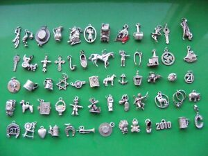 L) VINTAGE STERLING SILVER CHARMS CHARM BIBLE TEDDY HORSE CHALET SHOP DOG COW