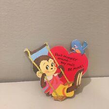 Vtg Valentine Card 70's Big Eyes Monkey Swinging Blue Bird Mod Unused