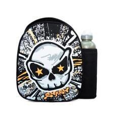 Smash Skull Graffiti Black Lunch School  Bag Case & Bottle Blue iQ Lining