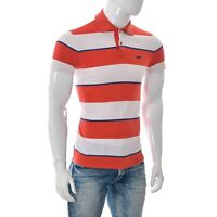 Hollister Mens Two-Button Polo Short Sleeve T-Shirt Colorblock white/red/blue S