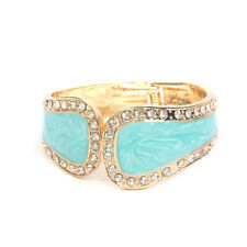 GORGEOUS 18K GOLD PLATED TURQUOISE ENAMEL AND CLEAR RHINESTONE BANGLE
