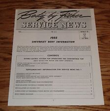 1955 Chevrolet Body by Fisher Service News Vol 14-6 No 2 Supplement 55 Chevy