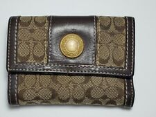 Coach Brown Signature Jacquard C Leather Trim Wallet Small Credit Slips