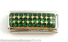 9mm Italian Charm Stainless Steel May Green Gold Super Link Birthstone Birthday