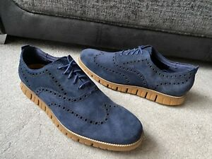 Cole Haan Zerogrand  washed indigo  suede brogues shoes,UK size 12