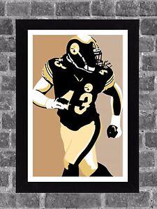 Pittsburgh Steelers Troy Polamalu Portrait Sports Print Art 11x17