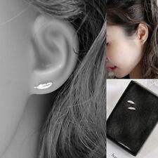 925 Sterling Silver Fashion Women Jewelry Charm Feather Ear Nail Stud Earrings