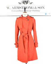 Women's Smart Bold Chic Red KAREN MILLEN Belted Long Mac Trench Coat Jacket 12