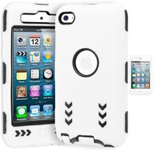 For iPod Touch 4, Hybrid Shock Design White and Black Hard Case+Screen Protector
