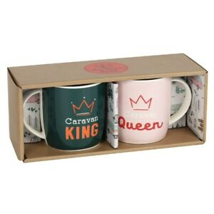Caravan King & Queen Pair of Mugs, Boxed Gift Set, Camping Outdoor Themed