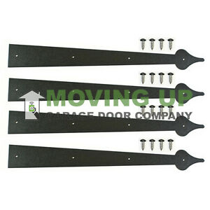 "Garage Door Decorative Hinge 24"" Black Set of 4+ Hardware"