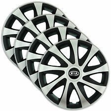 "Hub Caps 14"" KIA Shuma Carens Rio cee'd 4x Wheel Trim Cover SILVER+BLACK DRACO"