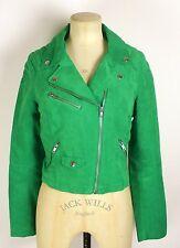 VINTAGE style/PUNK  lime green sude feel,Grunge/Punk/retrocropped biker jacket