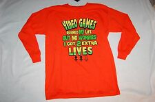 Boys L/S ORANGE FUNNY TEE SHIRT Video Games Ruined My Life  SIZE XL