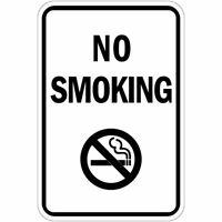 Aluminum Vertical Metal Sign Multiple Sizes No Smoking Black Weatherproof Street