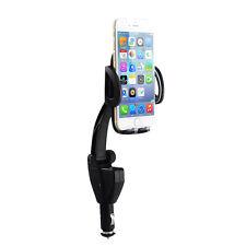 Universal Dual USB Car Cigarette Lighter Charger Mount Holder for Smartphones