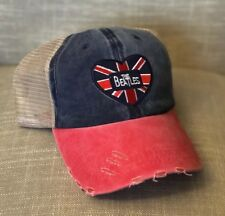 a93f96c382c THE BEATLES Logo Flag Hat Cap Music Band NEW Union Jack England Weathered  Look
