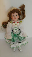 """Irish St. Patrick's Doll Porcelain 14"""" Musical Plays Lookin Over 4 Leaf Clover"""