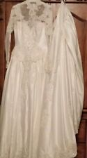 """NEW Ivory Wedding Dress Vintage Style Long Sleeve Lace Up Cathedral Train 76"""""""