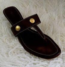 PRADA Leather & Gold Thong Kitten Heel Sandals  Brown Size US 10-10.5 Euro 41