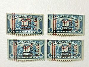 Lot of 4 US Internal revenue playing card stamp 10 cent 1929