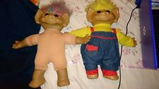 2 Vintage Troll Dolls. Approx 19 Inch.  Collectable Dolls