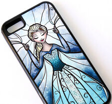for iPhone 5C - BLUE BLACK Frozen Elsa Hard Premium TPU Rubber Gummy Skin Case