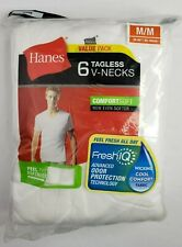 Hanes Men's FreshIQ Undershirt 6-Pack V-Neck Men's Shirts TAGLESS Size M Medium
