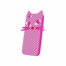 ^ BACK CASE  Silikon Schutzhülle Cover Schale Tasche Katze LG K10 2016 Pink
