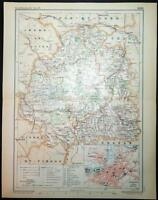 1894 ANTIQUE PRINT COLOUR MAP of INDRE Chateauroux FRANCE French CARTE