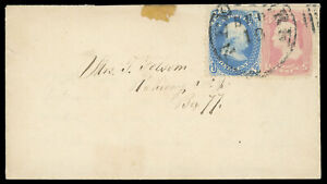 3¢ pink #64, 1¢ #63 New York Sep 18, 1861 carrier cover to Rahway NY, cat $725