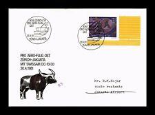 DR JIM STAMPS PRO AERO ZURICH JAKARTA AIRMAIL SWITZERLAND EUROPEAN SIZE COVER