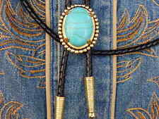 NEW TURQUOISE COLOUR BOLO BOOTLACE TIE LEATHER CORD GOLD METAL WESTERN,COWBOY