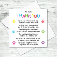 Personalised Thank you Teacher card Teaching Assistant Nursery School Poem
