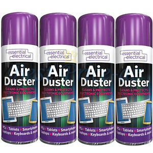 New 4x Compressed Air Duster Spray Can Cleans Protects Laptops Keyboards  200ml