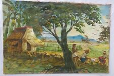 VINTAGE TROPICAL PAINTING POLYNESIAN FARM LANDSCAPE SCENE HAWAII PHILIPPINES