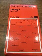 "1960s Old Vintage OS Ordnance Survey 1"" Map Sheet 108 Denbigh"