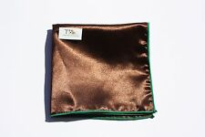 Men's Brown With Green Trim Pocket Square