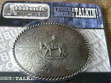 COWBOY RIDING HORSE  Montana Silversmiths BELT BUCKLE NEW SILVER TONE