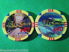 $40 EL RINCON TROPICAL Pool Room Private Casino Chip PUERTO RICO ficha Chipco