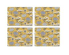 Cooksmart Pack of 4 Retro Meadow Placemats Modern Floral Mustard Yellow Grey