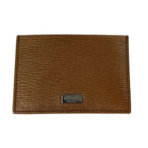 R-1283100 New Salvatore Ferragamo Brown With Logo Leather Credit Card Case