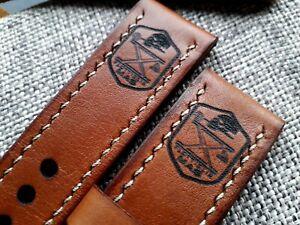 24mm Handmade leather watch strap army, Xª Flottiglia MAS tribut, brown