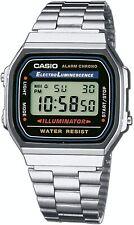 Casio Men's Quartz Digital Alarm Silver-Tone Bracelet 32mm Watch A168W-1