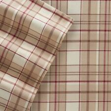 Cuddl Duds Flannel Full Sheet Set Khaki Red Plaid Heavyweight Brushed Cotton